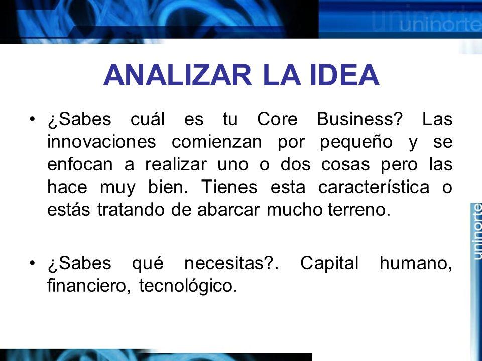 ANALIZAR LA IDEA ¿Sabes cuál es tu Core Business.