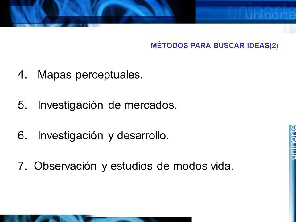 MÉTODOS PARA BUSCAR IDEAS(2) 4.Mapas perceptuales.