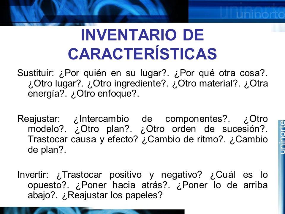 INVENTARIO DE CARACTERÍSTICAS Sustituir: ¿Por quién en su lugar?.