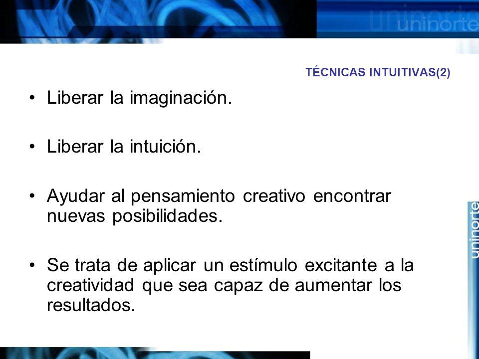 TÉCNICAS INTUITIVAS(2) Liberar la imaginación.Liberar la intuición.
