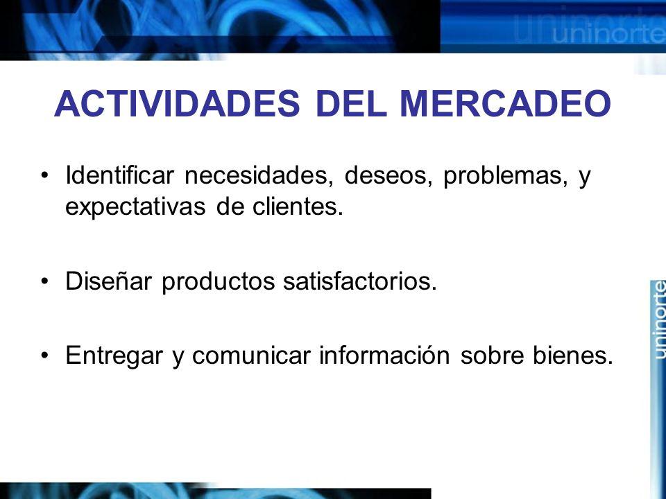 ACTIVIDADES DEL MERCADEO Identificar necesidades, deseos, problemas, y expectativas de clientes.