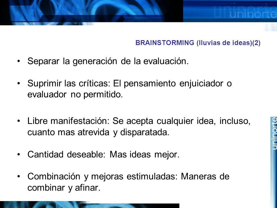 BRAINSTORMING (lluvias de ideas)(2) Separar la generación de la evaluación.
