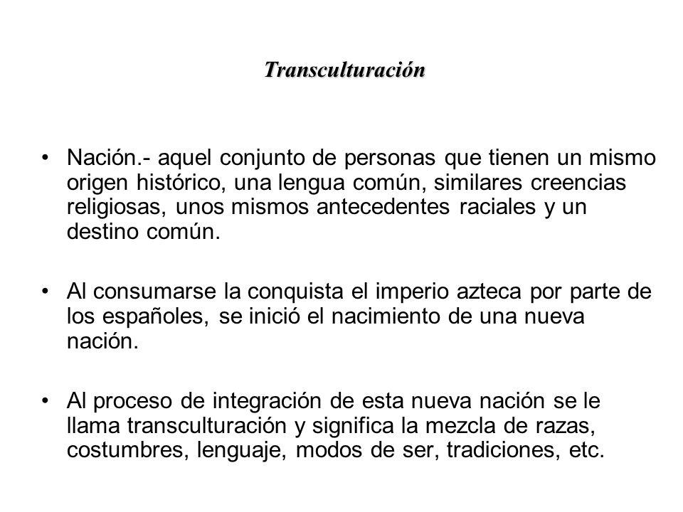 SE INICIA UN PROCESO DE TRANSCULTURACION 1.-RACIAL 2.-RELIGIOSO 3.-CONOCIMIENTOS CIENTIFICOS 4.-ARTE 5.-LENGUAJE 6.-VEGETALES 7.-ANIMALES 8.-TECNOLOGI