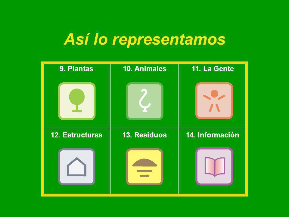 Así lo representamos 9. Plantas10. Animales11. La Gente 12. Estructuras13. Residuos14. Información