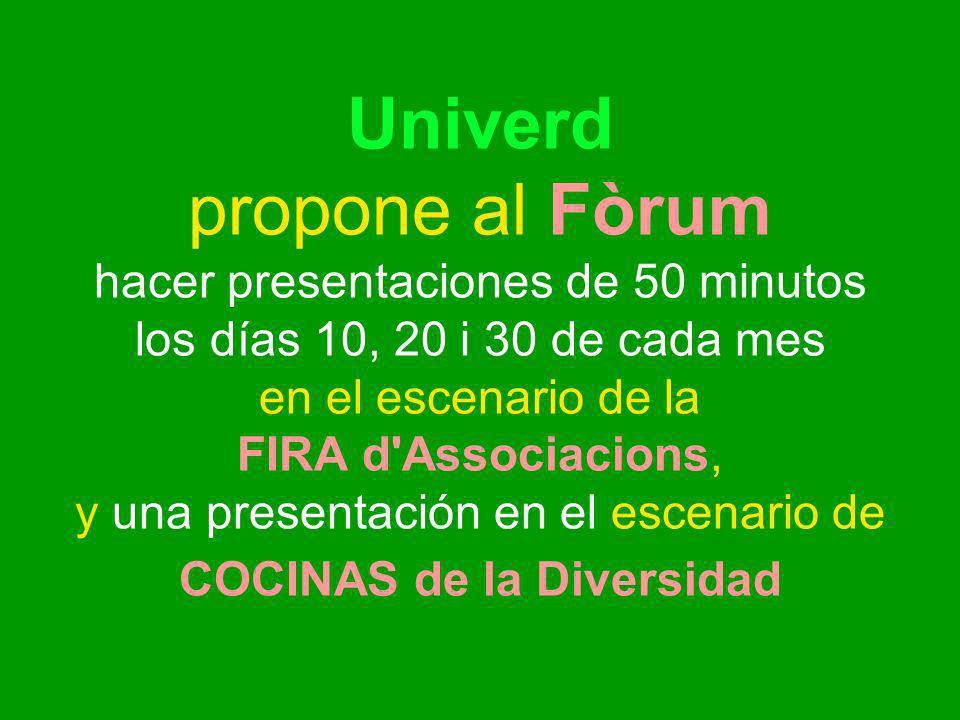 Univerd propone al Fòrum hacer presentaciones de 50 minutos los días 10, 20 i 30 de cada mes en el escenario de la FIRA d Associacions, y una presentación en el escenario de COCINAS de la Diversidad