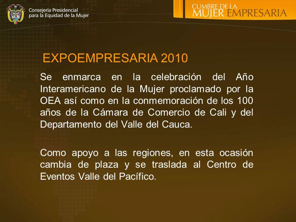 Se enmarca en la celebración del Año Interamericano de la Mujer proclamado por la OEA así como en la conmemoración de los 100 años de la Cámara de Comercio de Cali y del Departamento del Valle del Cauca.