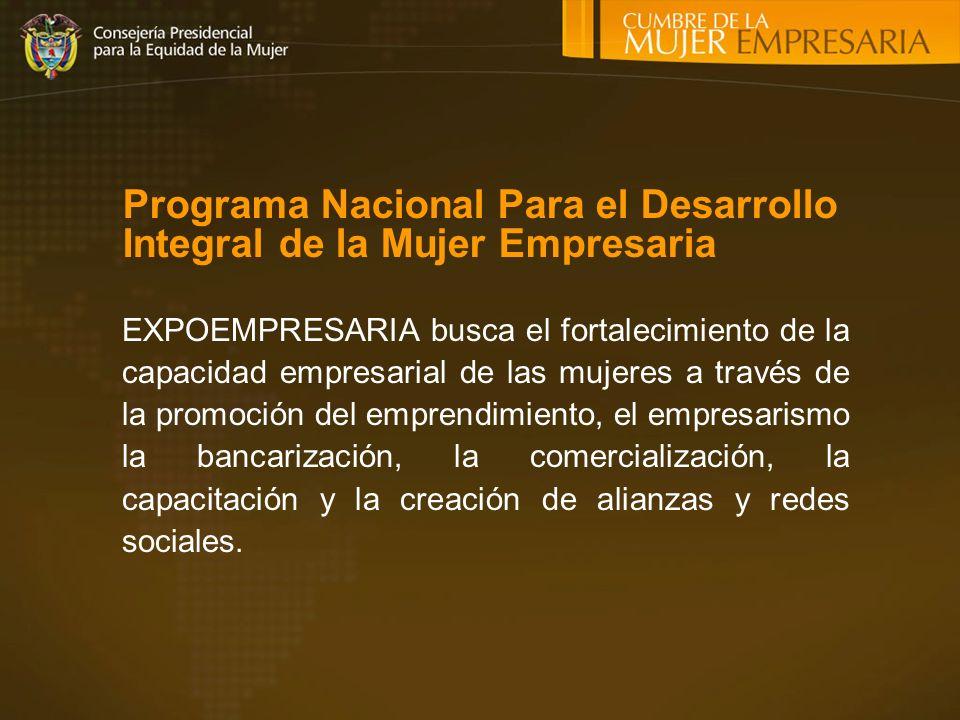 EXPOEMPRESARIA busca el fortalecimiento de la capacidad empresarial de las mujeres a través de la promoción del emprendimiento, el empresarismo la bancarización, la comercialización, la capacitación y la creación de alianzas y redes sociales.