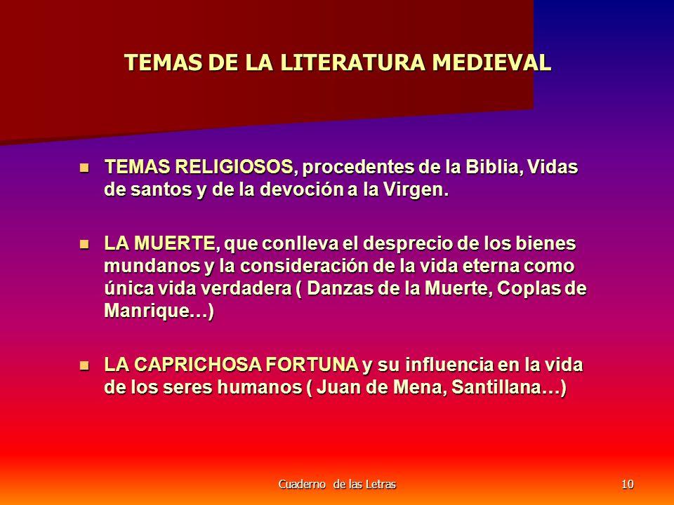 Cuaderno de las Letras10 TEMAS DE LA LITERATURA MEDIEVAL TEMAS RELIGIOSOS, procedentes de la Biblia, Vidas de santos y de la devoción a la Virgen. TEM