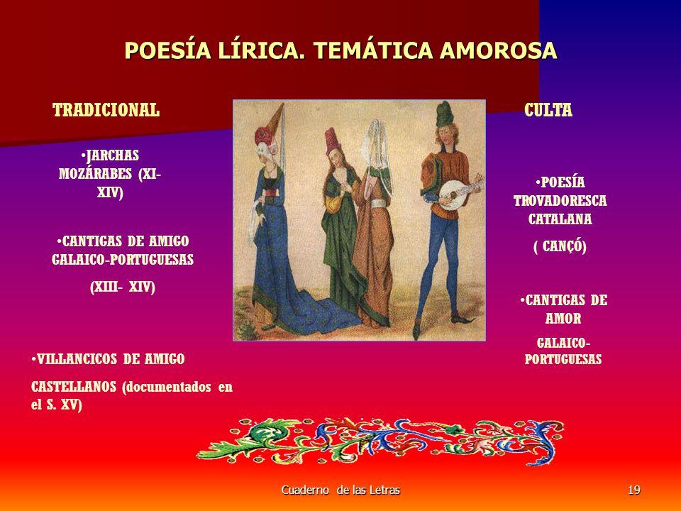 Cuaderno de las Letras19 POESÍA LÍRICA. TEMÁTICA AMOROSA TRADICIONALCULTA JARCHAS MOZÁRABES (XI- XIV) CANTIGAS DE AMIGO GALAICO-PORTUGUESAS (XIII- XIV