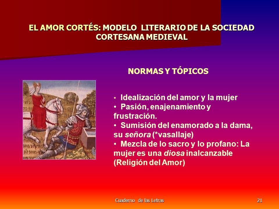 Cuaderno de las Letras21 EL AMOR CORTÉS: MODELO LITERARIO DE LA SOCIEDAD CORTESANA MEDIEVAL NORMAS Y TÓPICOS Idealización del amor y la mujer Pasión,