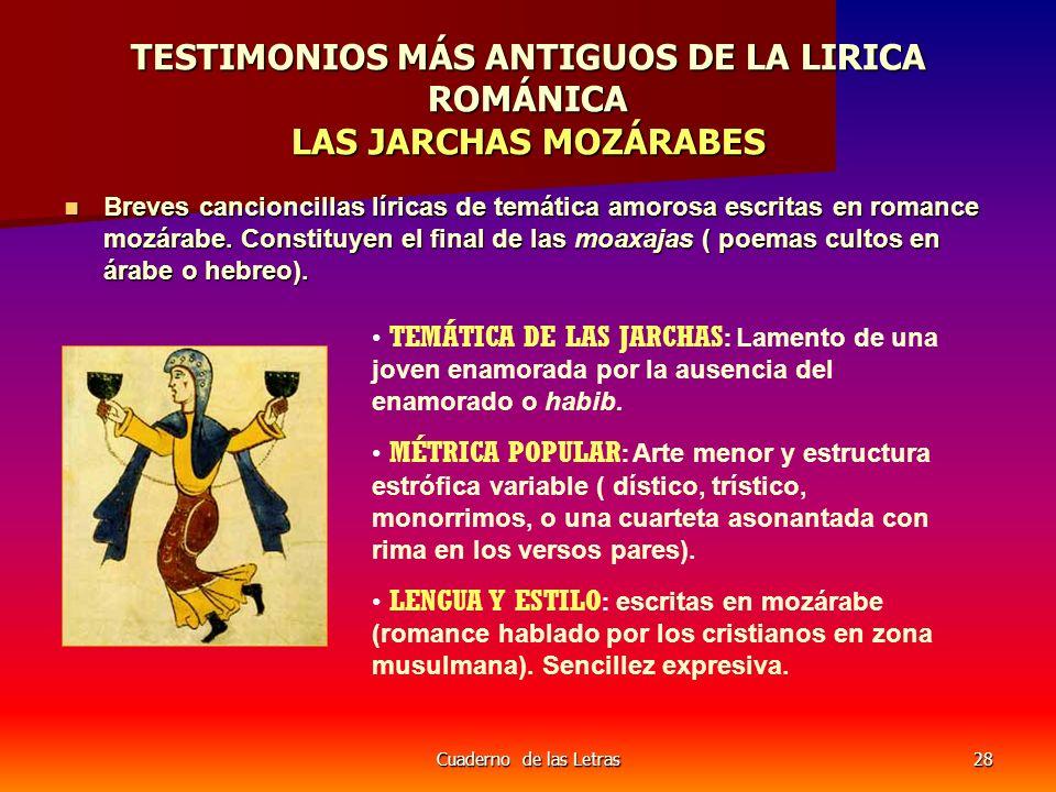 Cuaderno de las Letras28 TESTIMONIOS MÁS ANTIGUOS DE LA LIRICA ROMÁNICA LAS JARCHAS MOZÁRABES Breves cancioncillas líricas de temática amorosa escrita