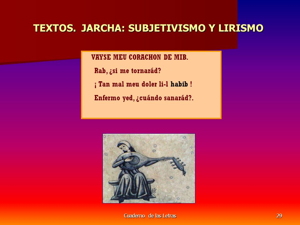 Cuaderno de las Letras29 TEXTOS.JARCHA: SUBJETIVISMO Y LIRISMO TEXTOS.