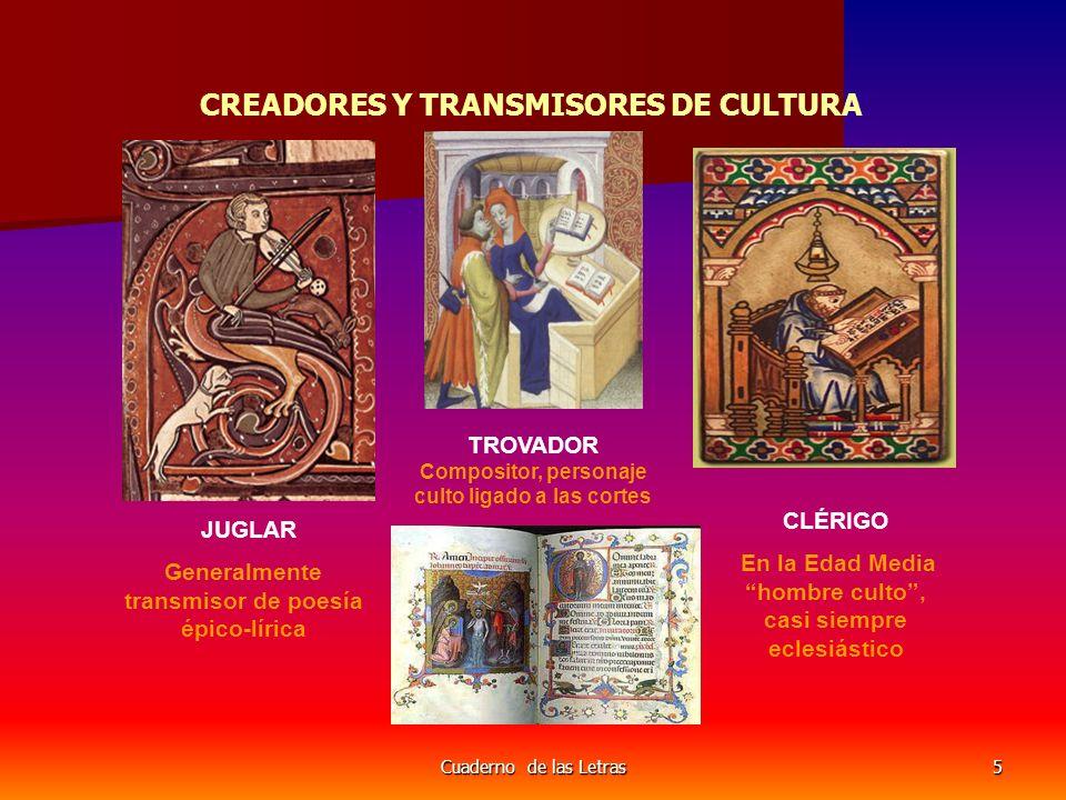 Cuaderno de las Letras5 CREADORES Y TRANSMISORES DE CULTURA JUGLAR Generalmente transmisor de poesía épico-lírica TROVADOR Compositor, personaje culto