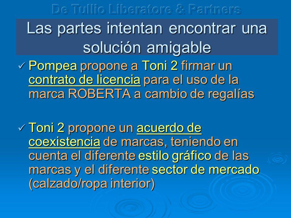 Las partes intentan encontrar una solución amigable Pompea propone a Toni 2 firmar un contrato de licencia para el uso de la marca ROBERTA a cambio de