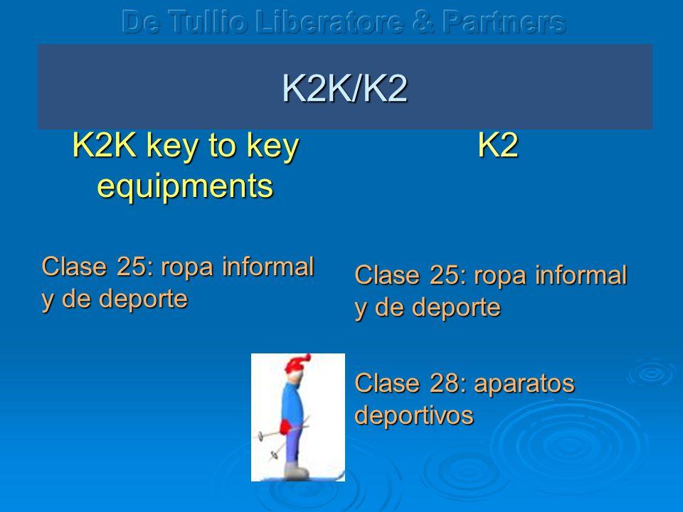K2K/K2 K2K key to key equipments Clase 25: ropa informal y de deporte K2 Clase 28: aparatos deportivos