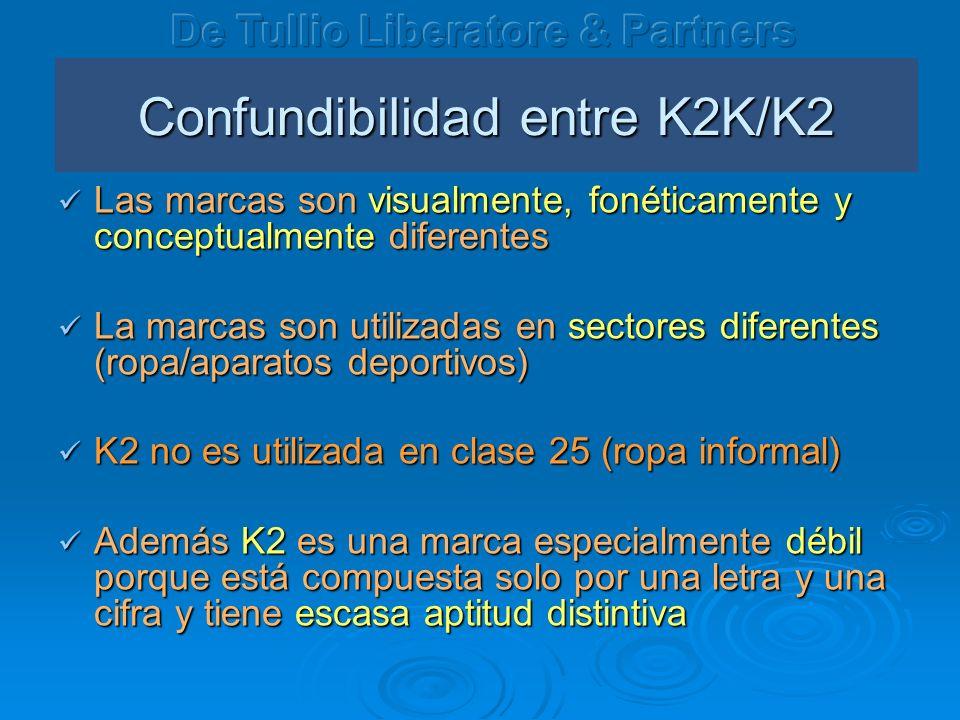 Confundibilidad entre K2K/K2 Las marcas son visualmente, fonéticamente y conceptualmente diferentes Las marcas son visualmente, fonéticamente y concep