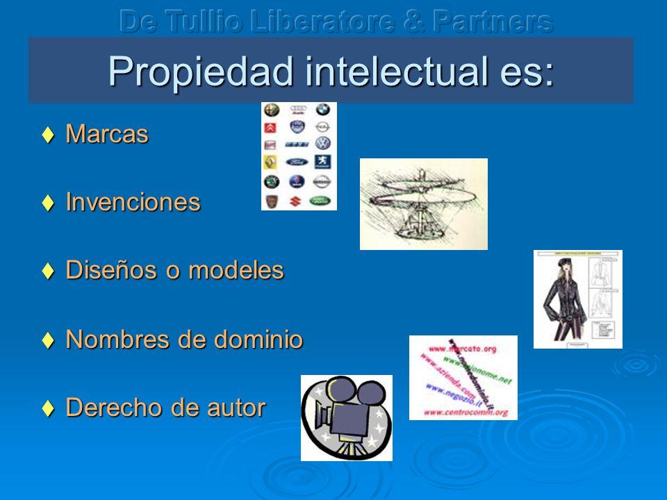 Propiedad intelectual es: Marcas Marcas Invenciones Invenciones Dise ñ os o modeles Dise ñ os o modeles Nombres de dominio Nombres de dominio Derecho de autor Derecho de autor