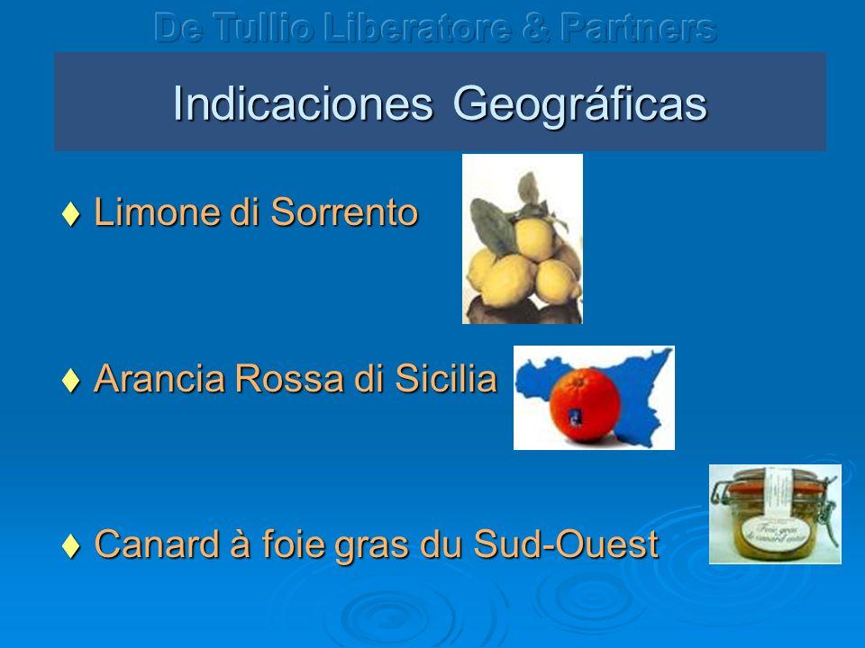 Indicaciones Geográficas Limone di Sorrento Limone di Sorrento Arancia Rossa di Sicilia Arancia Rossa di Sicilia Canard à foie gras du Sud-Ouest Canar