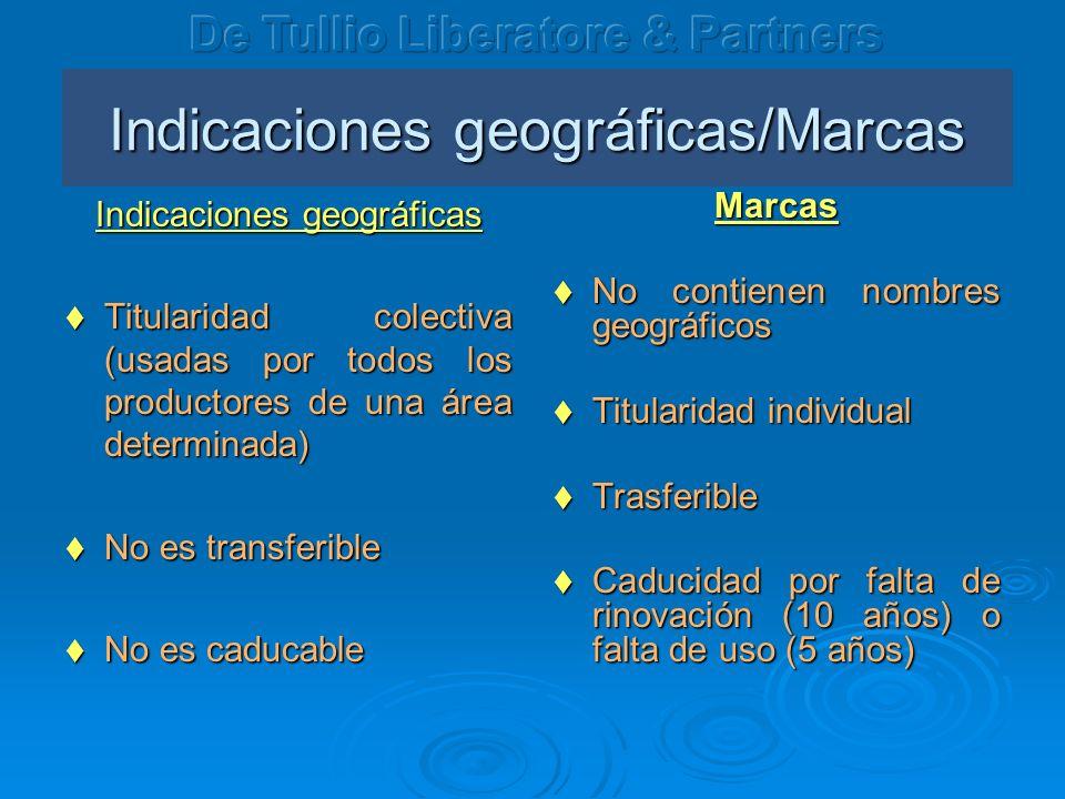 Indicaciones geográficas/Marcas Indicaciones geográficas Titularidad colectiva (usadas por todos los productores de una área determinada) Titularidad