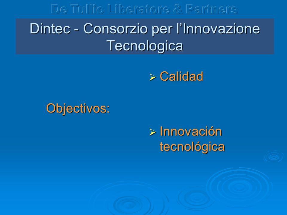 Dintec - Consorzio per lInnovazione Tecnologica Objectivos: Calidad Calidad Innovación tecnológica Innovación tecnológica