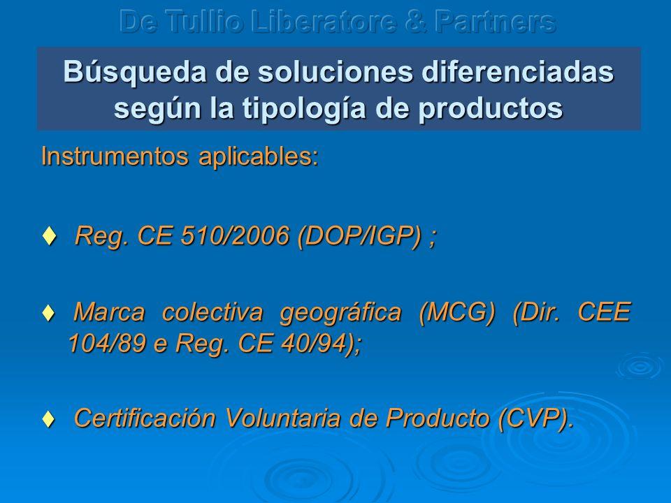 Búsqueda de soluciones diferenciadas según la tipología de productos Instrumentos aplicables: Reg. CE 510/2006 (DOP/IGP) ; Reg. CE 510/2006 (DOP/IGP)