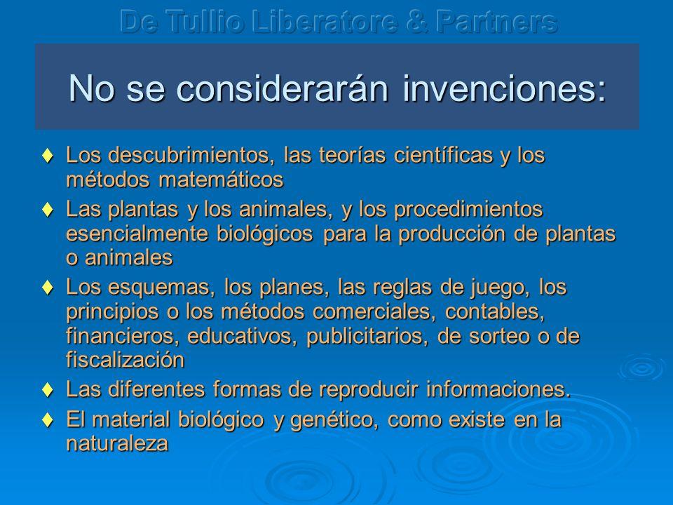 No se considerarán invenciones: Los descubrimientos, las teorías científicas y los métodos matemáticos Los descubrimientos, las teorías científicas y