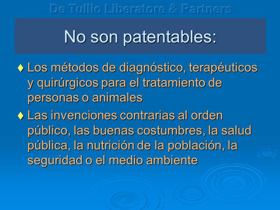 No son patentables: Los métodos de diagnóstico, terapéuticos y quirúrgicos para el tratamiento de personas o animales Los métodos de diagnóstico, tera