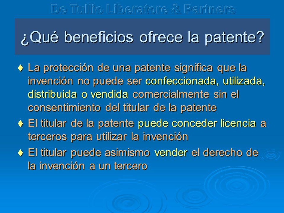 ¿ Qué beneficios ofrece la patente? La protección de una patente significa que la invención no puede ser confeccionada, utilizada, distribuida o vendi