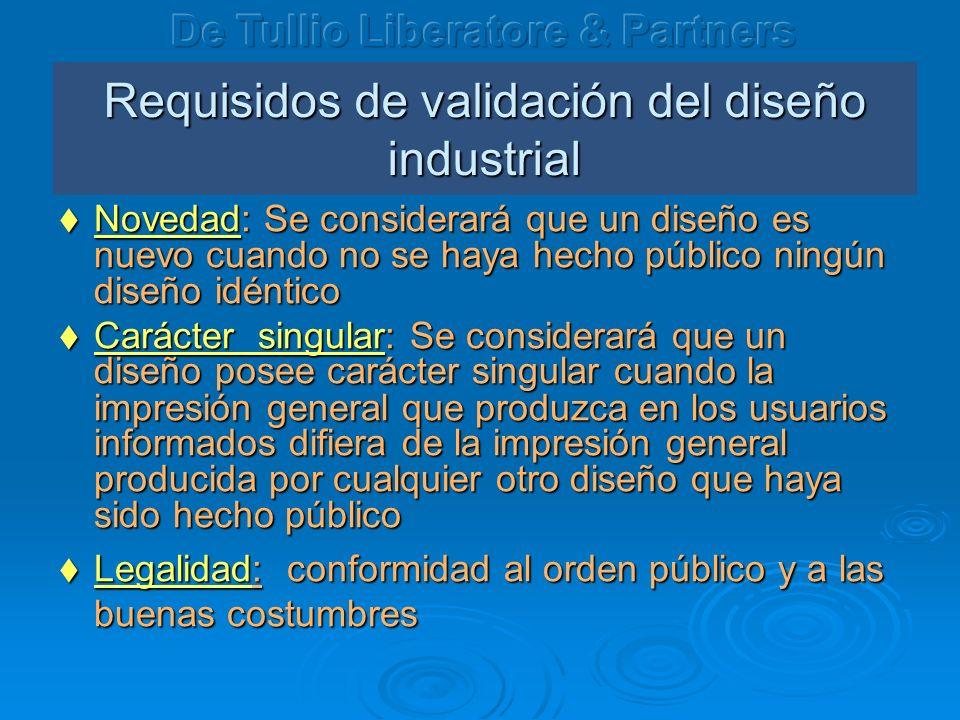 Requisidos de validación del dise ño industrial Novedad: Se considerará que un dise ñ o es nuevo cuando no se haya hecho público ningún dise ñ o idént