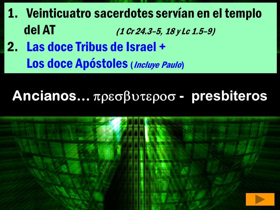 1. Veinticuatro sacerdotes servían en el templo del AT (1 Cr 24.3–5, 18 y Lc 1.5–9) Veinticuatro sacerdotes servían en el templo del AT (1 Cr 24.3–5,
