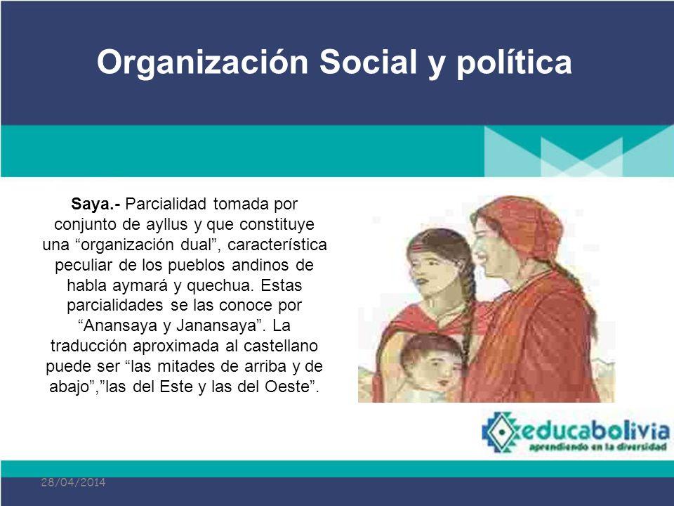 28/04/2014 Saya.- Parcialidad tomada por conjunto de ayllus y que constituye una organización dual, característica peculiar de los pueblos andinos de