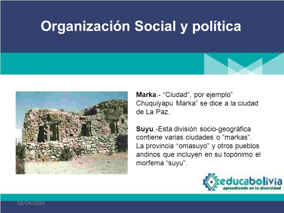 28/04/2014 Marka.- Ciudad, por ejemplo Chuquiyapu Marka se dice a la ciudad de La Paz. Suyu.-Esta división socio-geográfica contiene varias ciudades o
