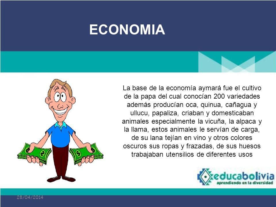 28/04/2014 La base de la economía aymará fue el cultivo de la papa del cual conocían 200 variedades además producían oca, quinua, cañagua y ullucu, pa