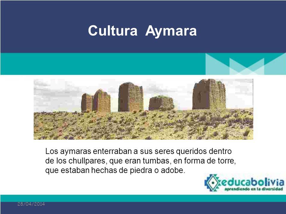 28/04/2014 Los aymaras enterraban a sus seres queridos dentro de los chullpares, que eran tumbas, en forma de torre, que estaban hechas de piedra o ad