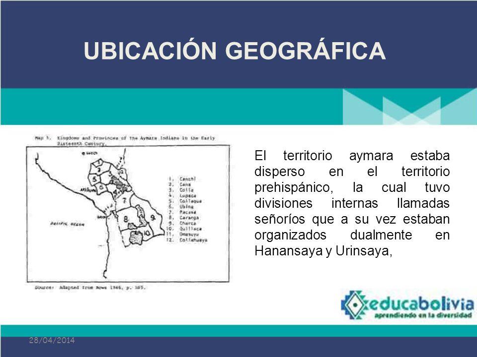28/04/2014 El territorio aymara estaba disperso en el territorio prehispánico, la cual tuvo divisiones internas llamadas señoríos que a su vez estaban