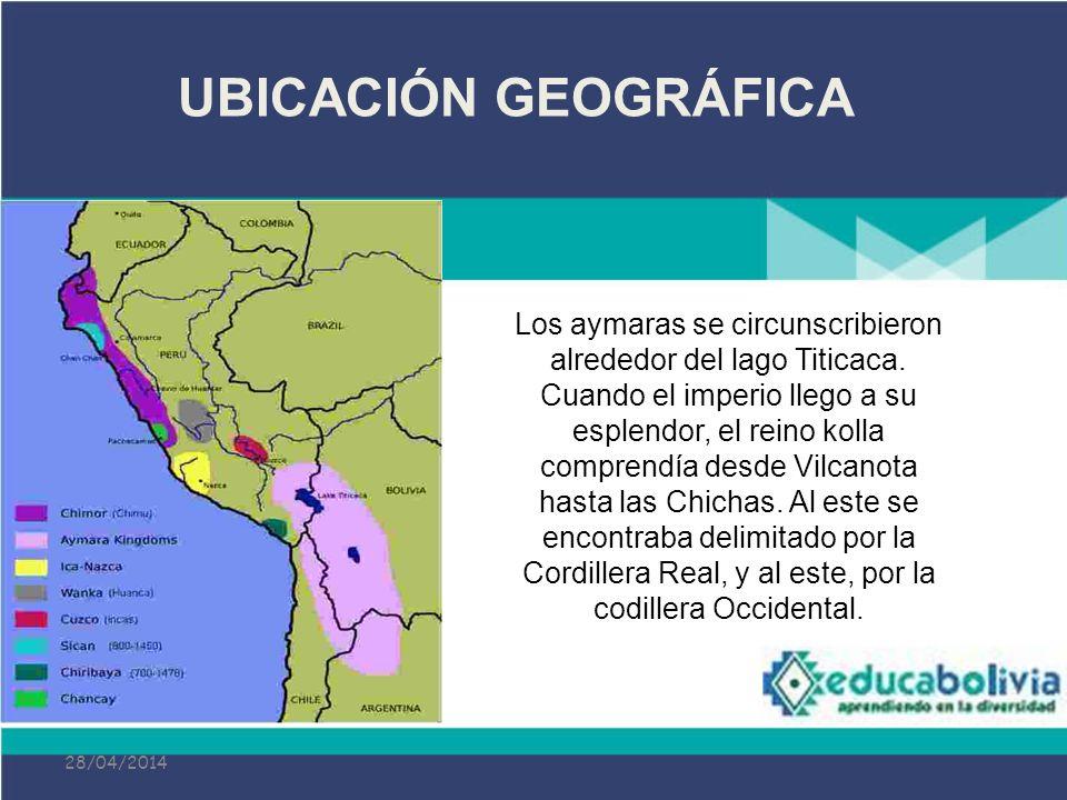28/04/2014 UBICACIÓN GEOGRÁFICA Los aymaras se circunscribieron alrededor del lago Titicaca. Cuando el imperio llego a su esplendor, el reino kolla co