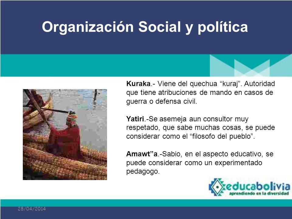 28/04/2014 Kuraka.- Viene del quechua kuraj. Autoridad que tiene atribuciones de mando en casos de guerra o defensa civil. Yatiri.-Se asemeja aun cons