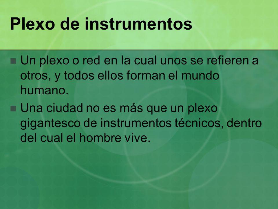 Plexo de instrumentos Un plexo o red en la cual unos se refieren a otros, y todos ellos forman el mundo humano. Una ciudad no es más que un plexo giga