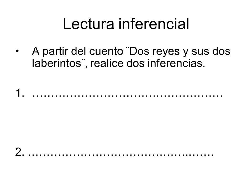 Lectura inferencial A partir del cuento ¨Dos reyes y sus dos laberintos¨, realice dos inferencias. 1.…………………………………………… 2. …………………………………….…….