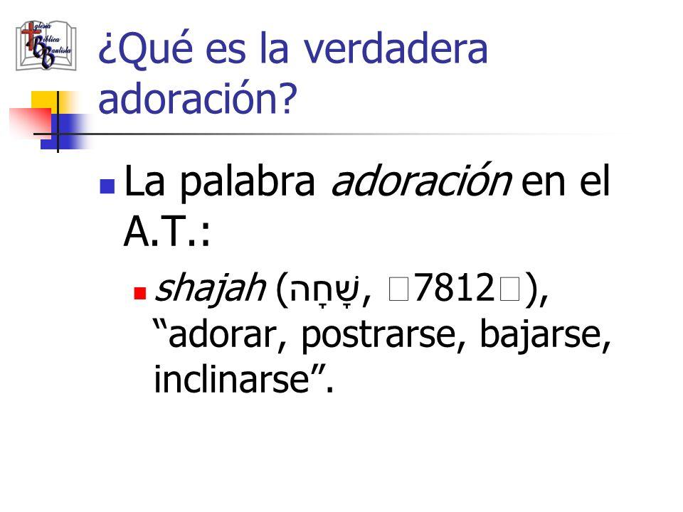 ¿Qué es la verdadera adoración? La palabra adoración en el A.T.: shajah ( שָׁחָה, 7812), adorar, postrarse, bajarse, inclinarse.
