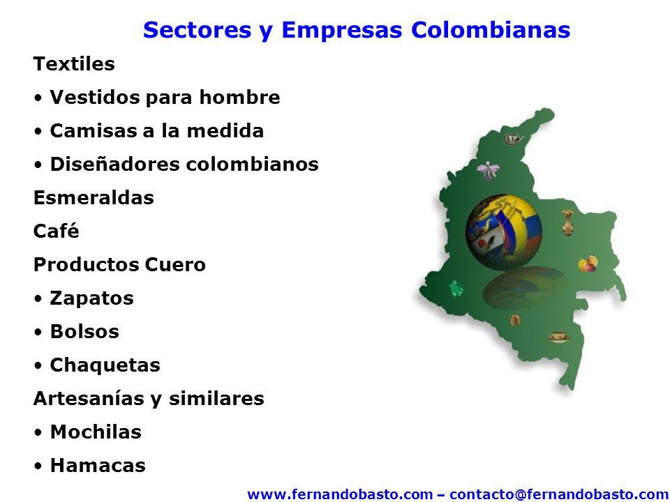 www.fernandobasto.com – contacto@fernandobasto.com Sectores y Empresas Colombianas Textiles Vestidos para hombre Camisas a la medida Diseñadores colombianos Esmeraldas Café Productos Cuero Zapatos Bolsos Chaquetas Artesanías y similares Mochilas Hamacas