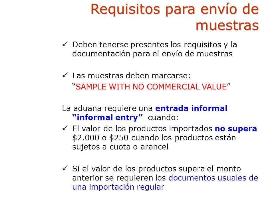 Requisitos para envío de muestras Deben tenerse presentes los requisitos y la documentación para el envío de muestras Las muestras deben marcarse: SAM
