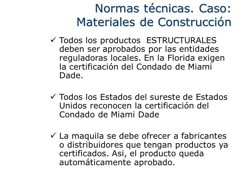 Todos los productos ESTRUCTURALES deben ser aprobados por las entidades reguladoras locales. En la Florida exigen la certificación del Condado de Miam