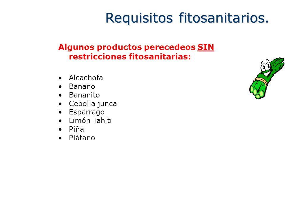 Algunos productos perecedeos SIN restricciones fitosanitarias: Alcachofa Banano Bananito Cebolla junca Espárrago Limón Tahiti Piña Plátano Requisitos