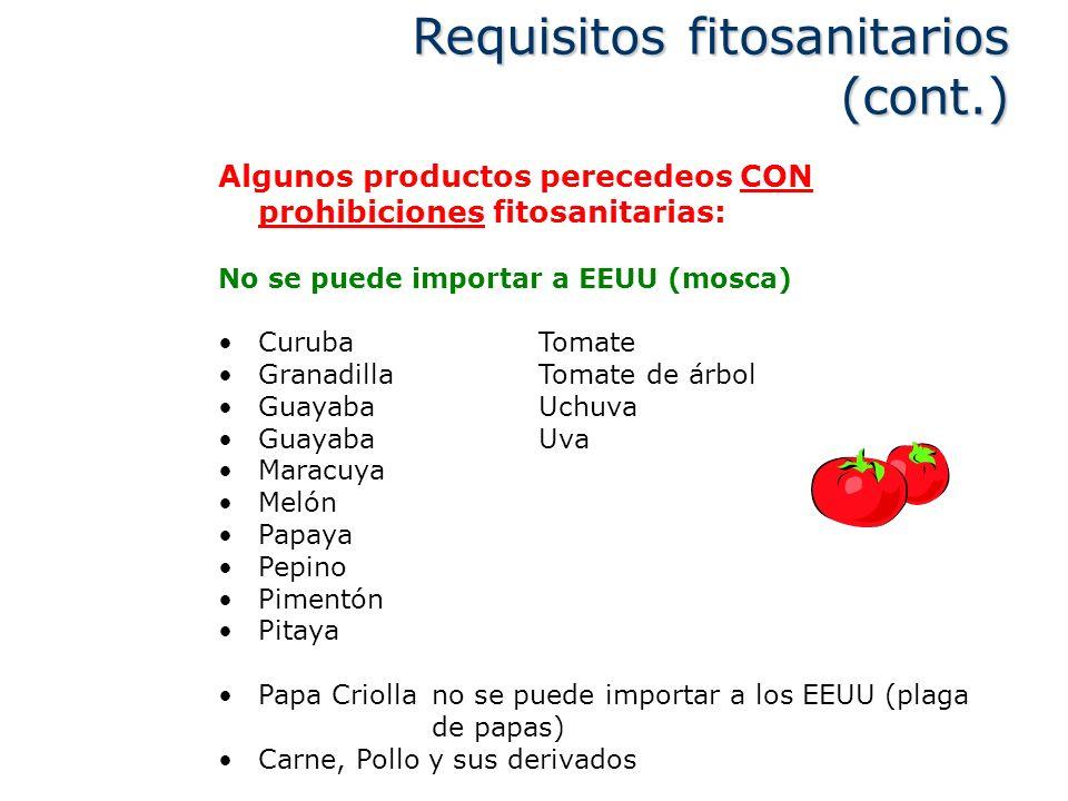 Algunos productos perecedeos CON prohibiciones fitosanitarias: No se puede importar a EEUU (mosca) CurubaTomate GranadillaTomate de árbol GuayabaUchuv