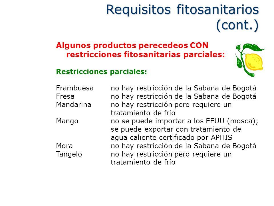 Algunos productos perecedeos CON restricciones fitosanitarias parciales: Restricciones parciales: Frambuesano hay restricción de la Sabana de Bogotá F