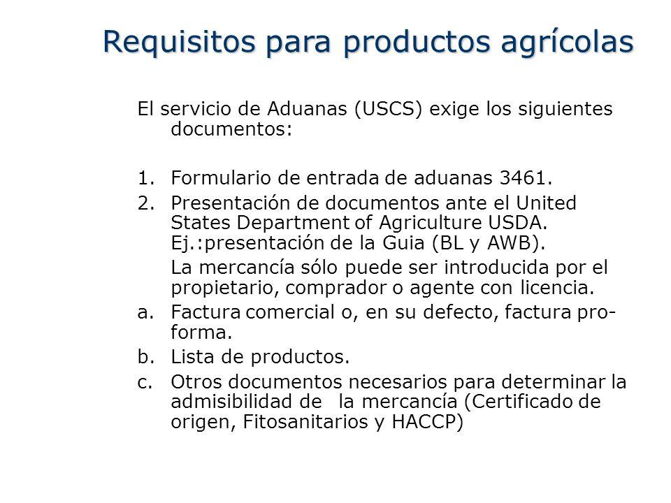 El servicio de Aduanas (USCS) exige los siguientes documentos: 1.Formulario de entrada de aduanas 3461. 2.Presentación de documentos ante el United St