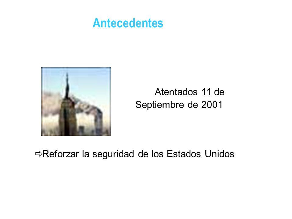 Atentados 11 de Septiembre de 2001 Reforzar la seguridad de los Estados Unidos Antecedentes