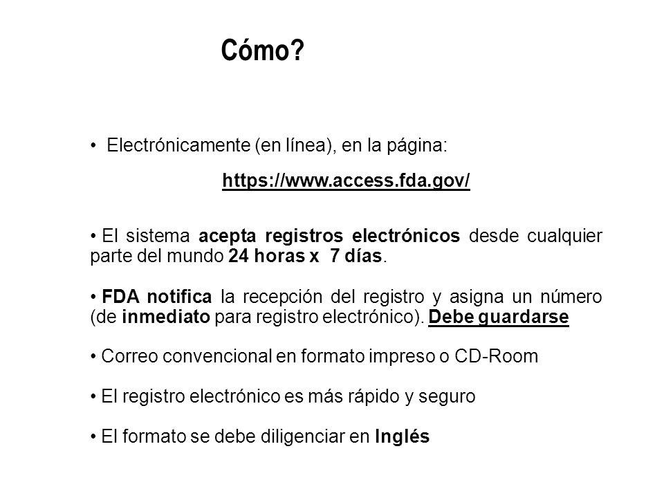 Electrónicamente (en línea), en la página: https://www.access.fda.gov/ El sistema acepta registros electrónicos desde cualquier parte del mundo 24 hor