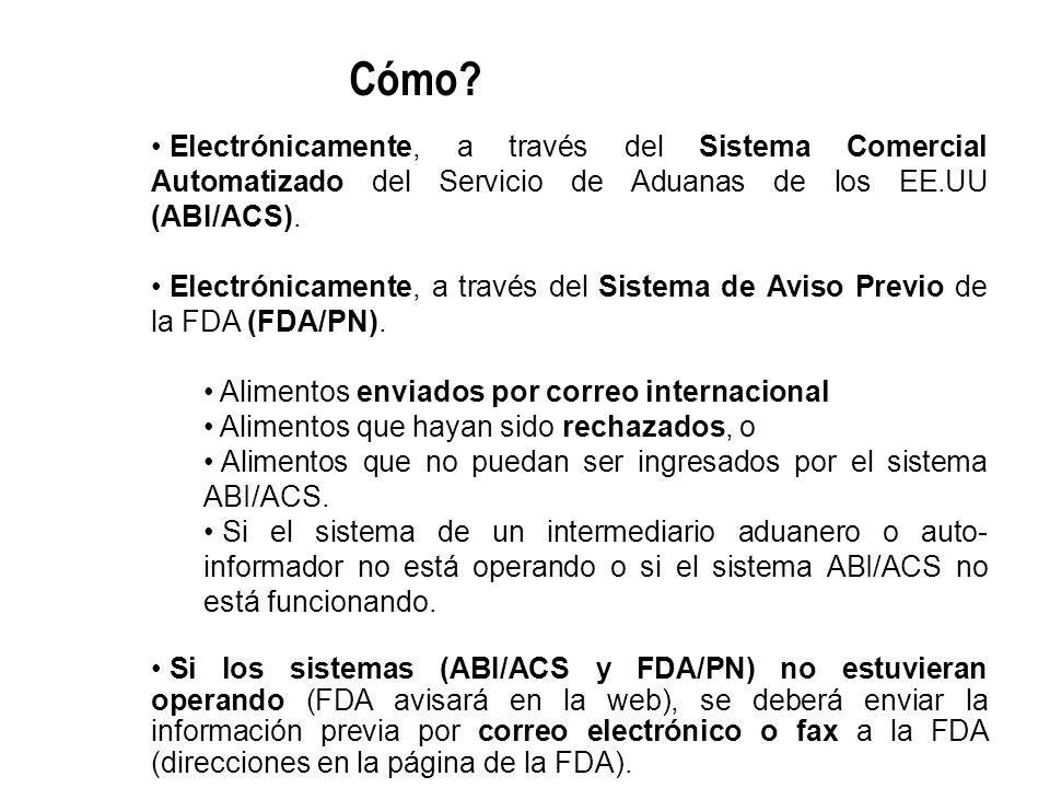 Electrónicamente, a través del Sistema Comercial Automatizado del Servicio de Aduanas de los EE.UU (ABI/ACS). Electrónicamente, a través del Sistema d
